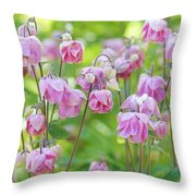 Pink Aquilegia Flowers Throw Pillow