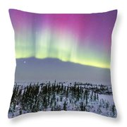 Pink Aurora Over Boreal Forest Throw Pillow