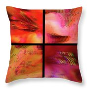 Pink Azalea Project Tetraptych Collage Throw Pillow