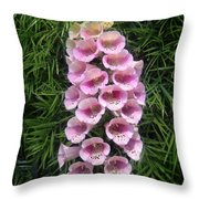 Pink Bell Flowers. Foxglove 01 Throw Pillow