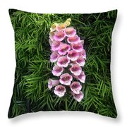 Pink Bell Flowers. Foxglove 02 Throw Pillow