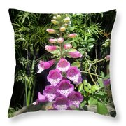 Pink Bell Flowers. Foxglove 03 Throw Pillow