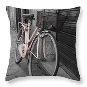 Pink Bicycle In Rome Throw Pillow