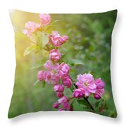 Pink Blossom Bokeh Throw Pillow