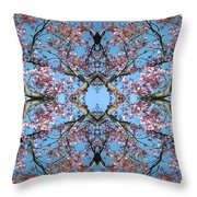 Pink Blossom Mandala Throw Pillow