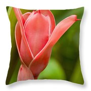 Pink Blossoming Flower Throw Pillow