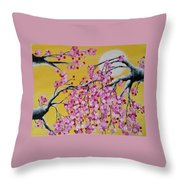 Pink Blossoms / Yellow Skies Throw Pillow