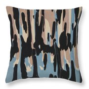 Pink Blue And Brown Drips Throw Pillow