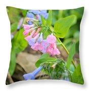 Pink Bluebells Throw Pillow