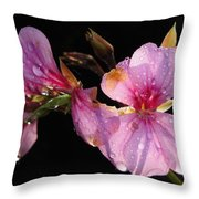 Pink Blush Cranesbill Throw Pillow