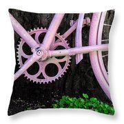Pink Bycycle Resting On A Tree Throw Pillow
