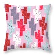 Pink Cactus Pattern Throw Pillow