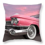 Pink Cadillac Sunset Throw Pillow