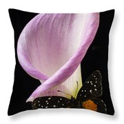 Pink Calla Lily With Butterfly Throw Pillow