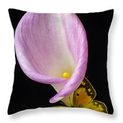 Pink Calla Lily With Yellow Butterfly Throw Pillow