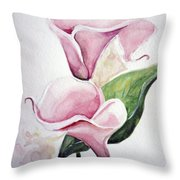 Pink Callas  Throw Pillow