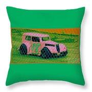 Pink Car Throw Pillow