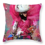 Pink Carnival Costumed Lady Throw Pillow