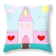 Pink Castle  Throw Pillow