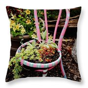 Pink Chair Planter Throw Pillow