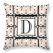 Pink Champagne Deco Monogram  D Throw Pillow