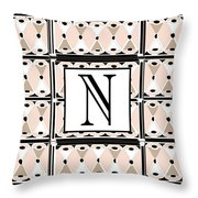 Pink Champagne Deco Monogram  N Throw Pillow