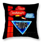 Pink Champagne Motel Throw Pillow