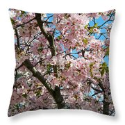 Pink Cherry Blossoms Throw Pillow