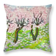 Pink Cherry Garden In Blossom Throw Pillow