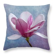 Pink Chinese Magnolia Flower Throw Pillow