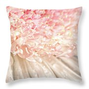 Pink Chrysanthemum With Antique Distress Throw Pillow