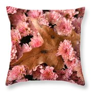 Pink Chrysanthemums With Pin Oak Leaf Throw Pillow