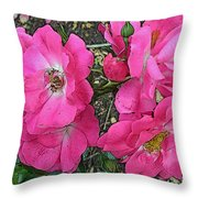Pink Climbing Roses - Digitally Enhanced Throw Pillow
