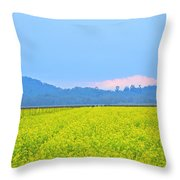 Pink Cloud Over The Mustard Fields Throw Pillow
