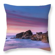 Pink Clouds And Rocky Headland Seascape Throw Pillow