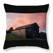 Pink Clouds Over Barn Throw Pillow