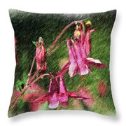 Pink Columbines Throw Pillow