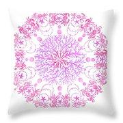Pink Crab Mandala Throw Pillow