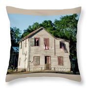 Pink Curtains Throw Pillow