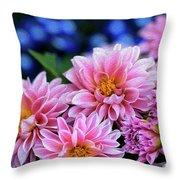 Pink Dahlias On Lobelia Throw Pillow
