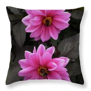 Pink Dahlias With Bees Throw Pillow