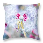 Pink Dandelion Throw Pillow