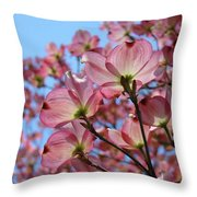 Pink Dogwood Flowers Landscape 11 Blue Sky Botanical Artwork Baslee Troutman Throw Pillow