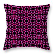 Pink Dots Pattern On Black Throw Pillow