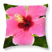 Pink Droplets Throw Pillow