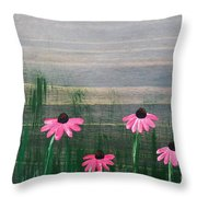Pink Echinacea Throw Pillow