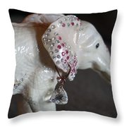 Pink Elliefont Earring Throw Pillow