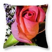 Pink Eye Rose Throw Pillow