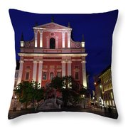 Pink Facade Of Franciscan Church Of The Annunciation Next To Urb Throw Pillow
