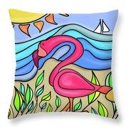 Pink Flamingo Glassy Throw Pillow